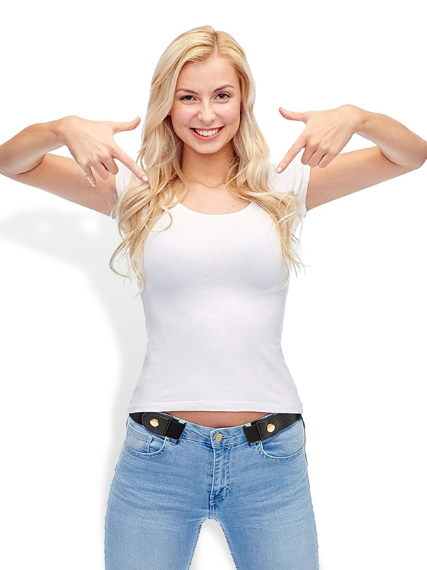 Women Buckle Free Invisible Elastic Belts for Jeans