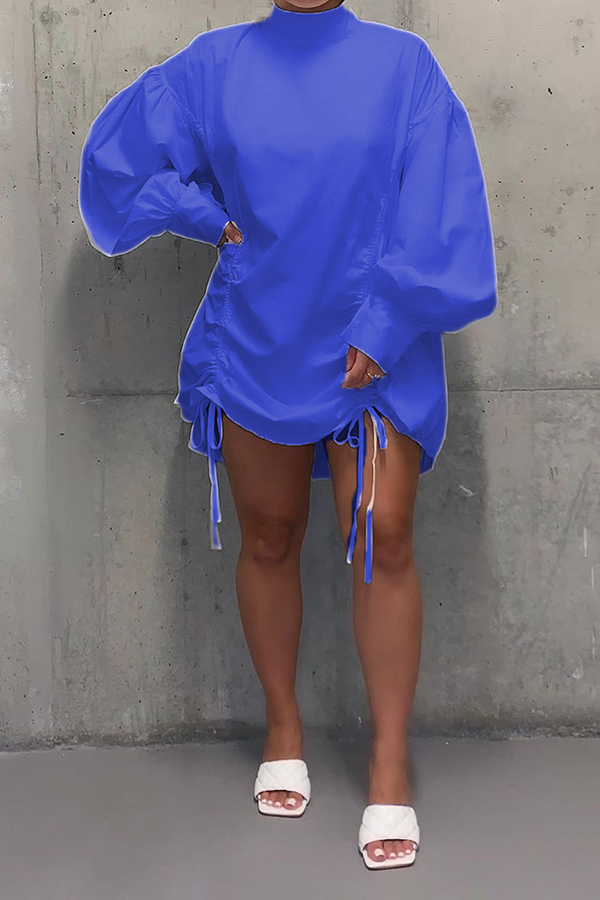 Puff Sleeve Ruched Loose Dress