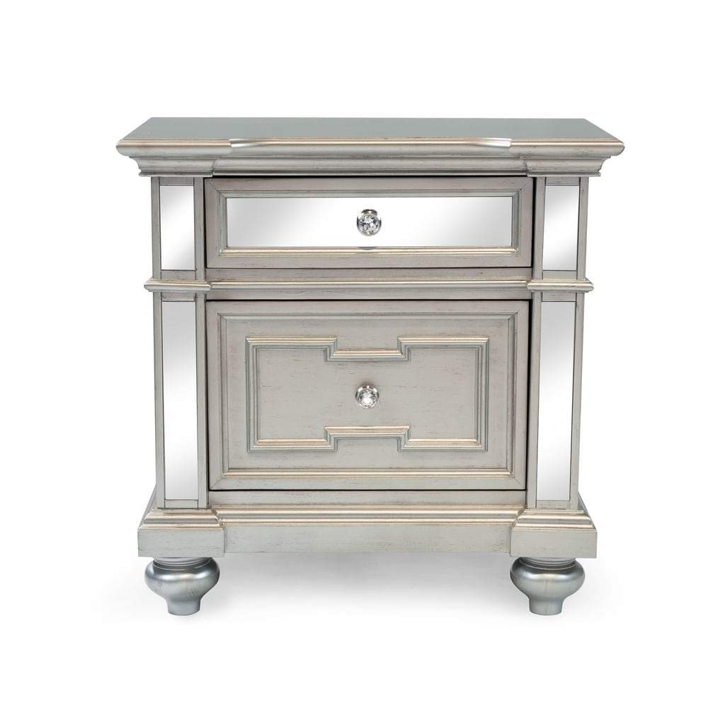 Furniture of America Eaen Contemporary Champagne Solid Wood Nightstand