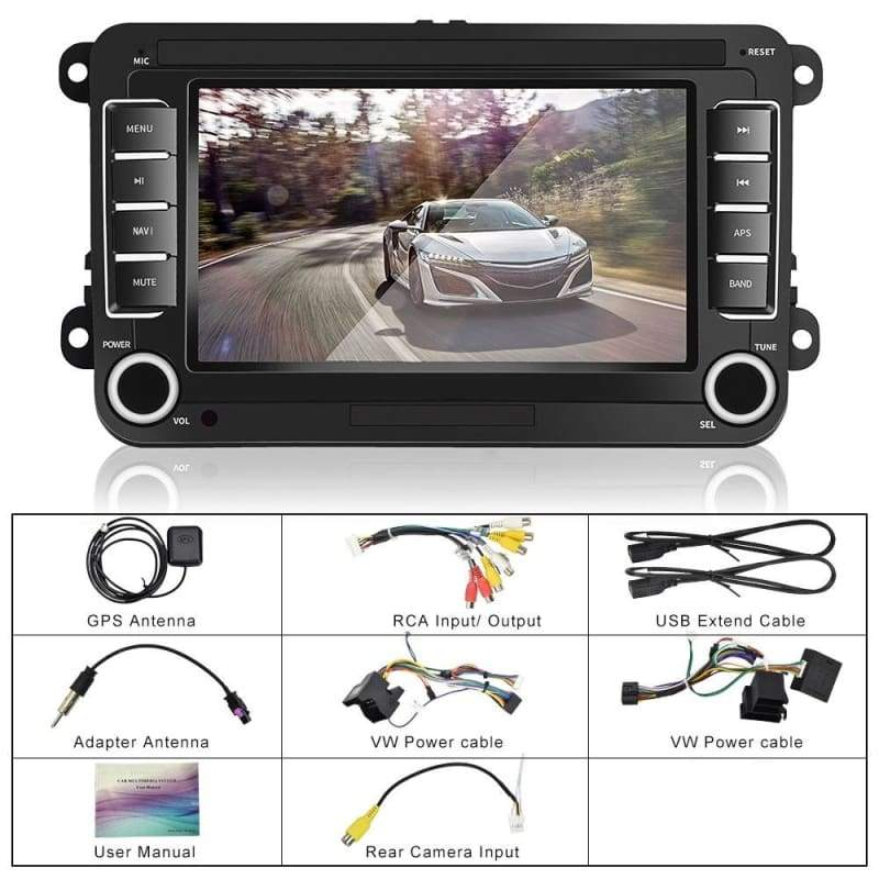 2 Din Android 8.1 Car Radio GPS Navigation Autoradio 7' Touch Screen Car Multimedia Player with GPS Navigation Mirror Link Bluetooth USB FM+CAM For VW