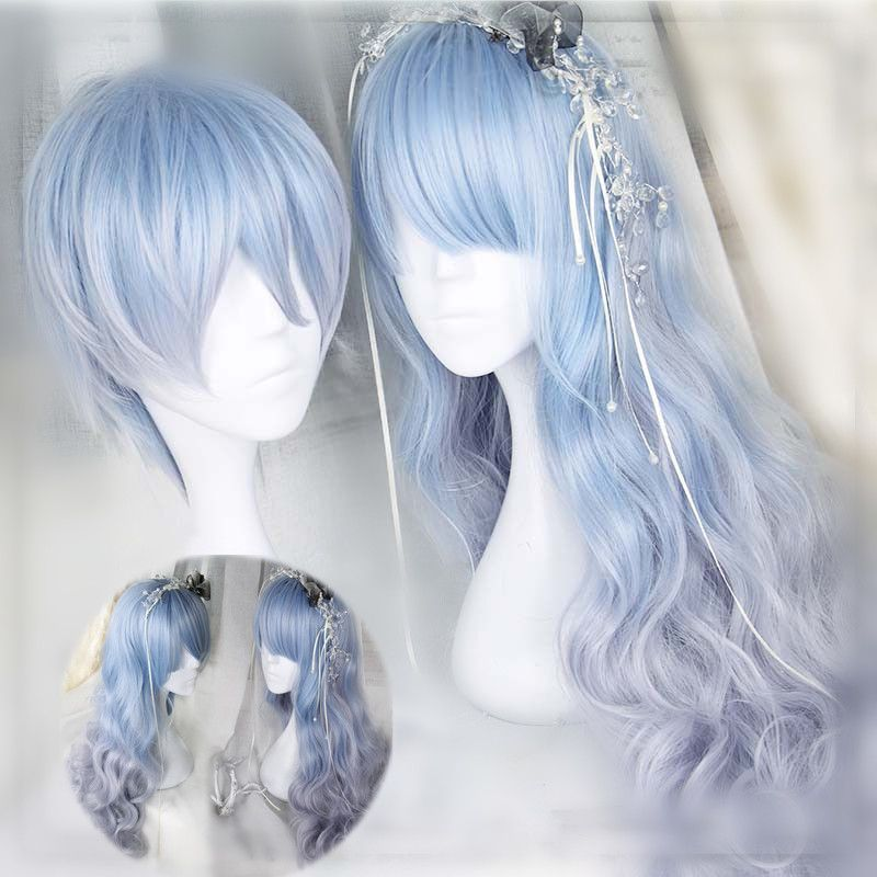 Blue Wigs Lace Frontal Wigs Cheap Human Wigs Quick Blue Bleach Directions Half Red Half Blue Hair Blue Straight Wig