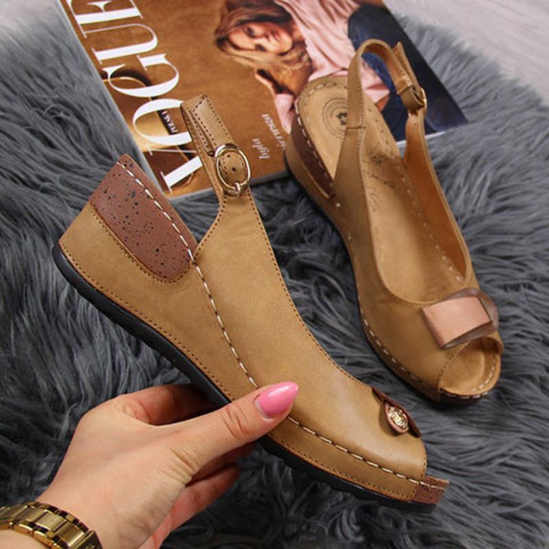 Women Casual Wedge Heel Peep Toe Sandals