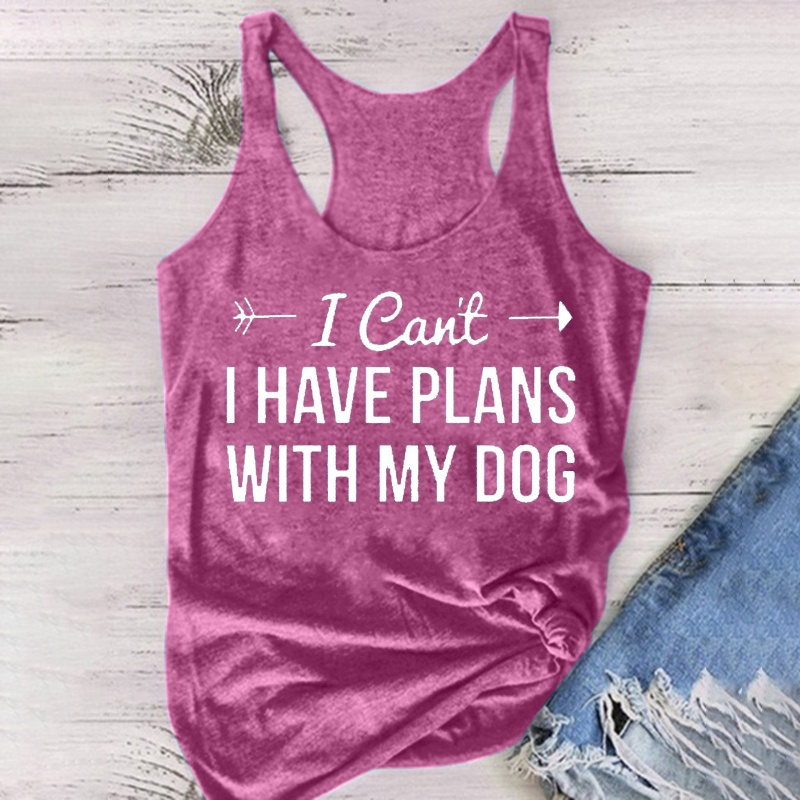 Womens Fashion Summer Graphic Tank Top Sorry I Can't I Have Plans with My Dog Letter Print Funny Dog Lover Shirts Casual Sleeveless Cotton T-Shirts Tops  Plus Size S-5XL