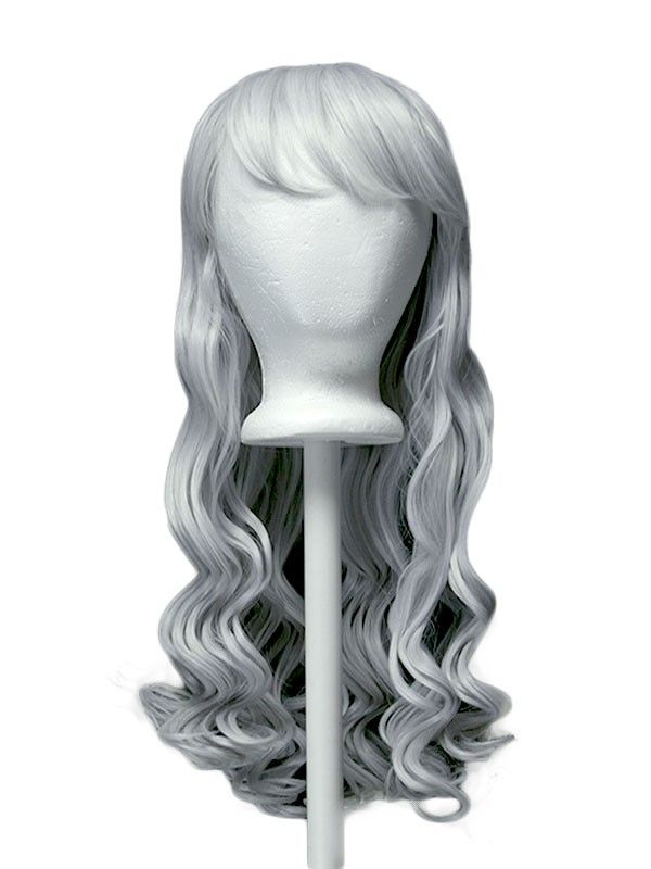 2020 New Gray Hair Wigs For African American Women Grey Brown Hair Wavy Wig With Bangs Ash Gray Hair For Morena Princess Peach Wig Glueless Wigs