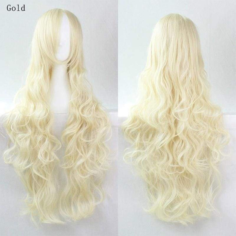 Long Wavy Curly Cosplay Wig Solid  Colors Hair Women Full Wig Halloween