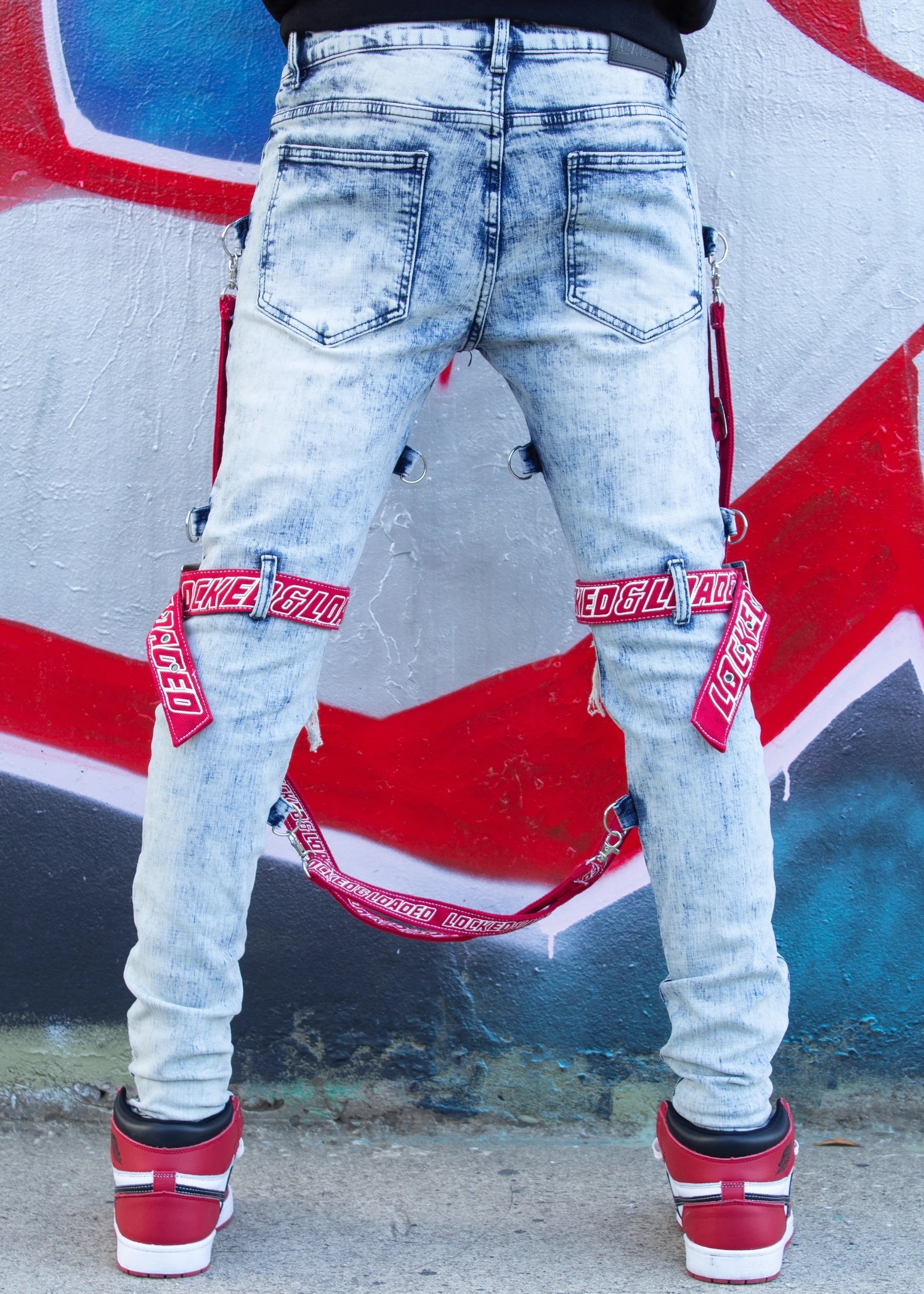 Locked and Loaded Jeans-Belt and Stone-Light Blue and Red