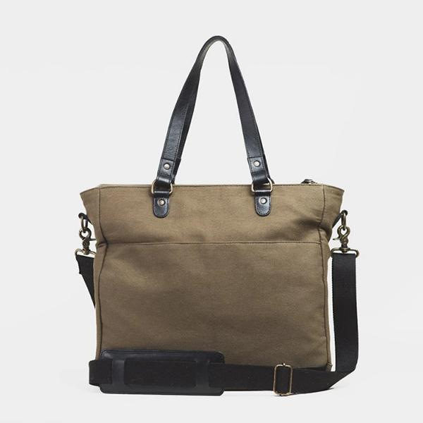 Faddishshoes Full Grain Leather Canvas Laptop Tote Bags