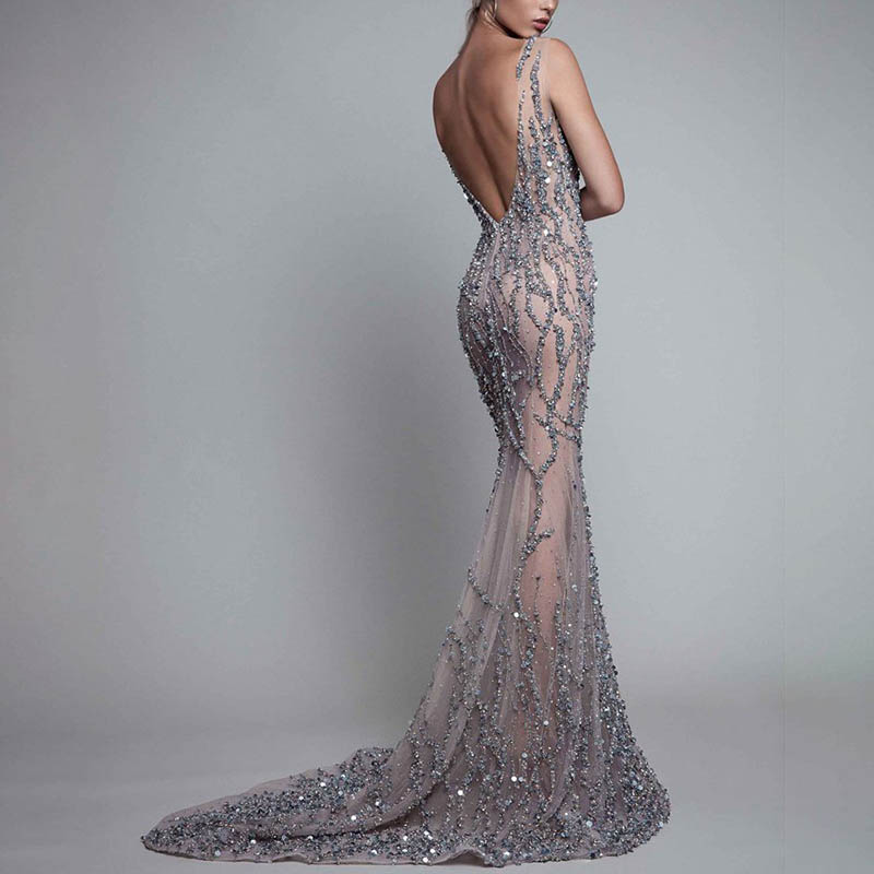 Sexy Tube Top Perspective Tail Evening Dress