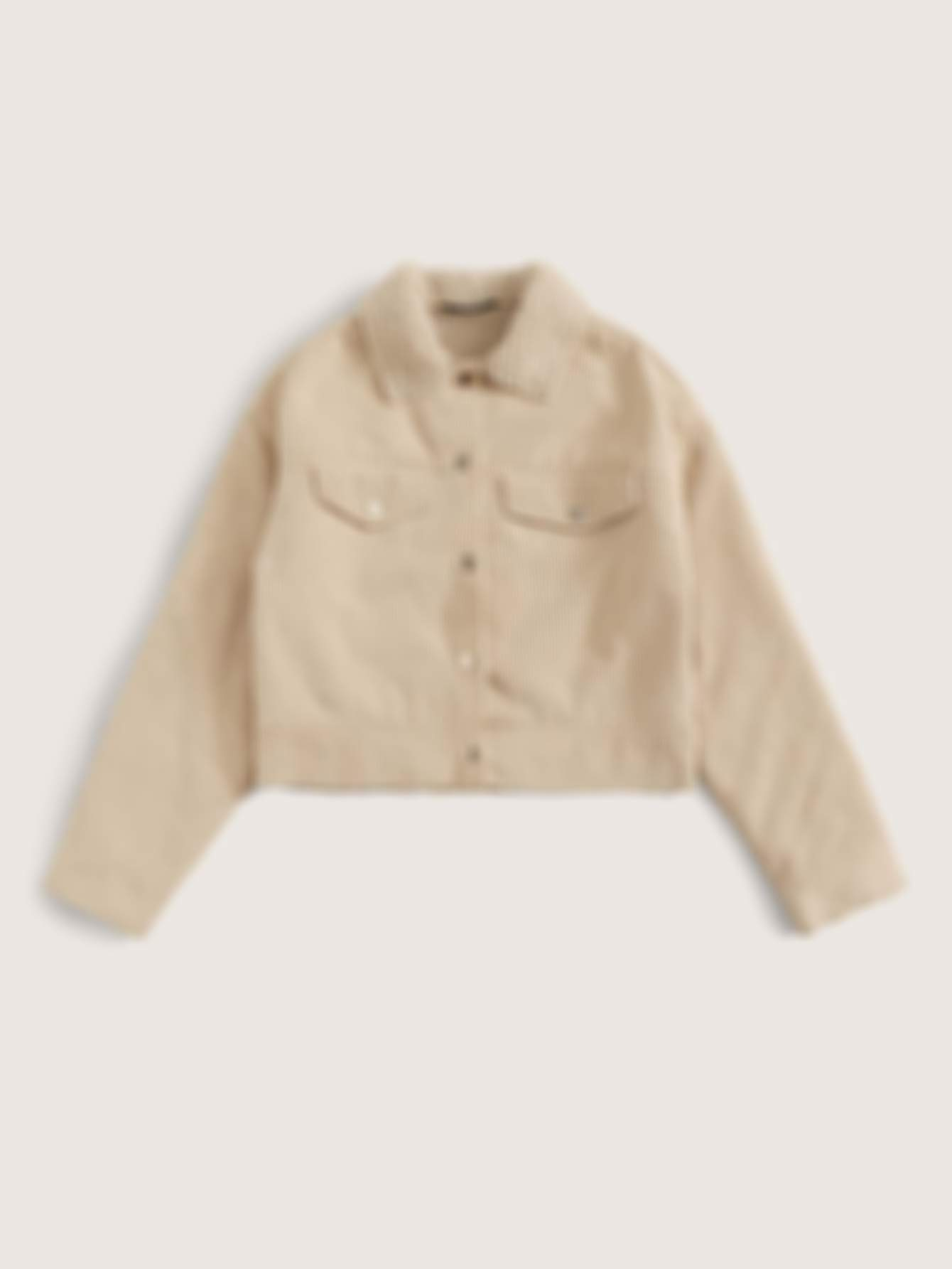 SHEIN Fleece Lined Button Up Cord Jacket