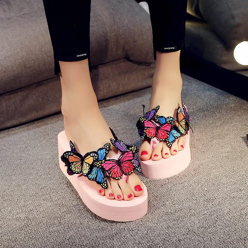 2021 summer new 3d butterfly slippers