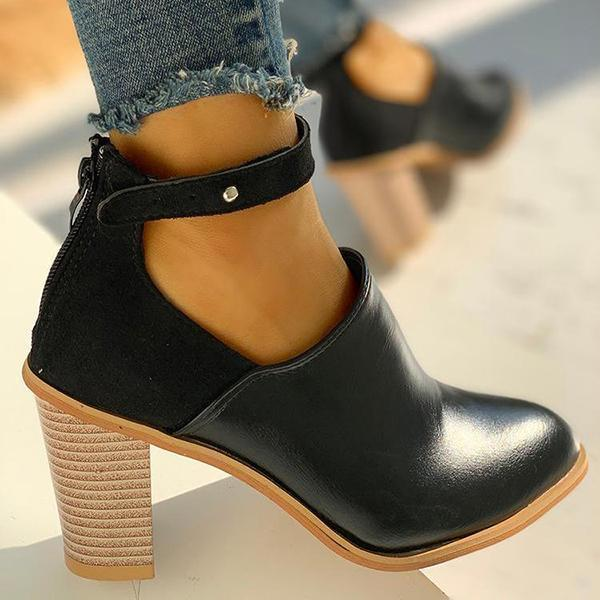 Faddishshoes Ankle Slip On Casual Chunky Boots