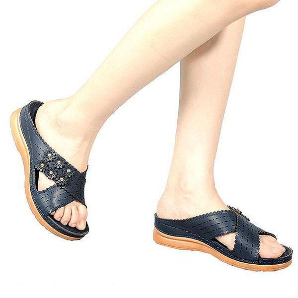 Flower Clip Toe Beach Flip Flops Casual Holiday Wedges Slippers
