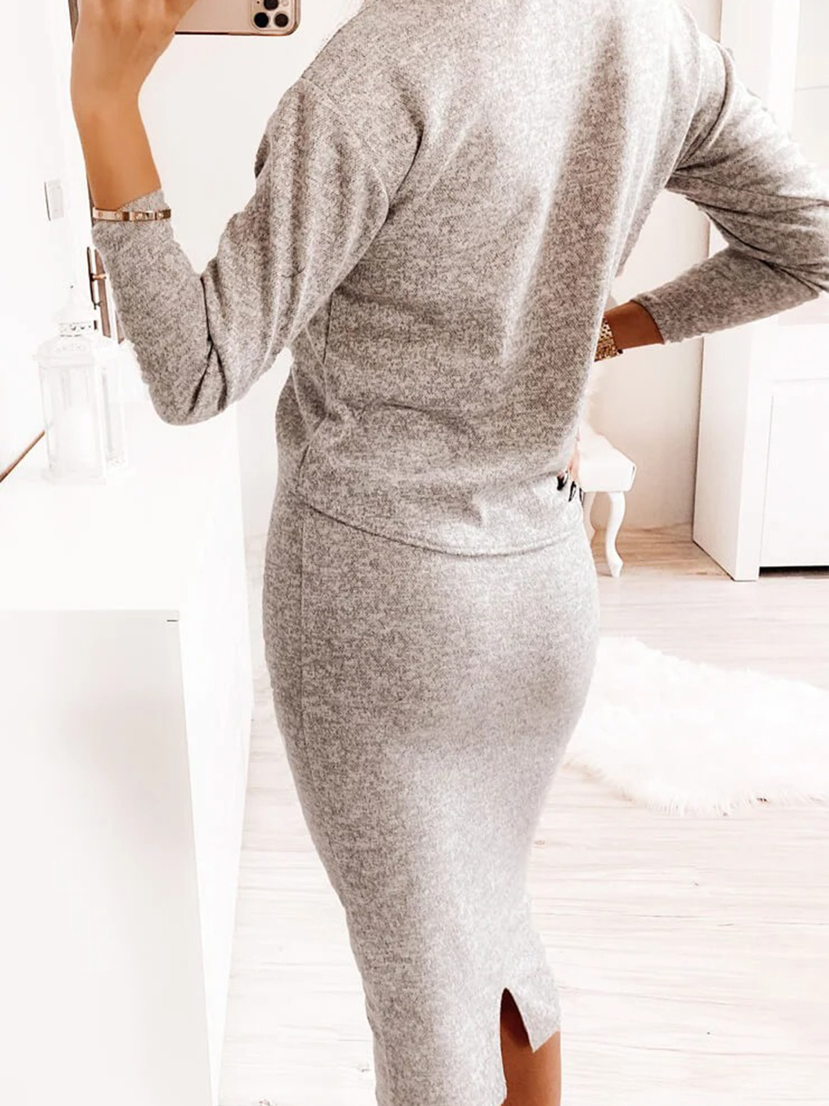 Women'S High Neck Sweater Tight Knit Sexy Dress