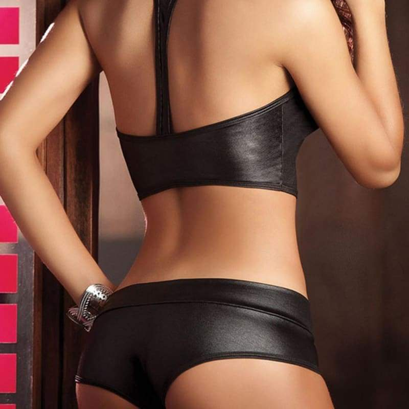 Women 2 Piece Set Sexy Bandage Clubwear Stripper Patent Leather Underwear Gmama