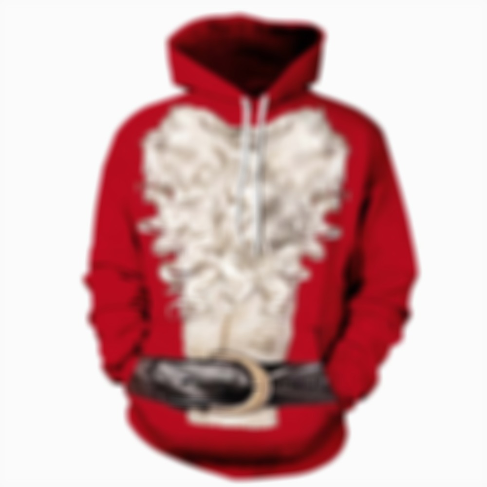 Pullover Santa Beard Couples Christmas Hoodie with Belt