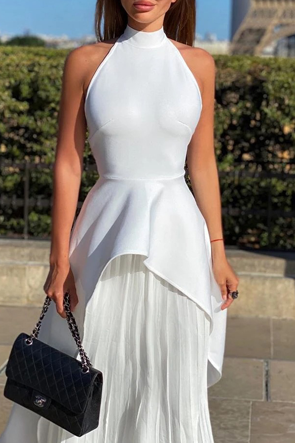 Nude Back Pleated Two-piece Set
