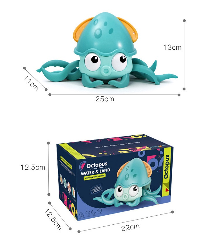 Walking octopus playing with water toys amphibious
