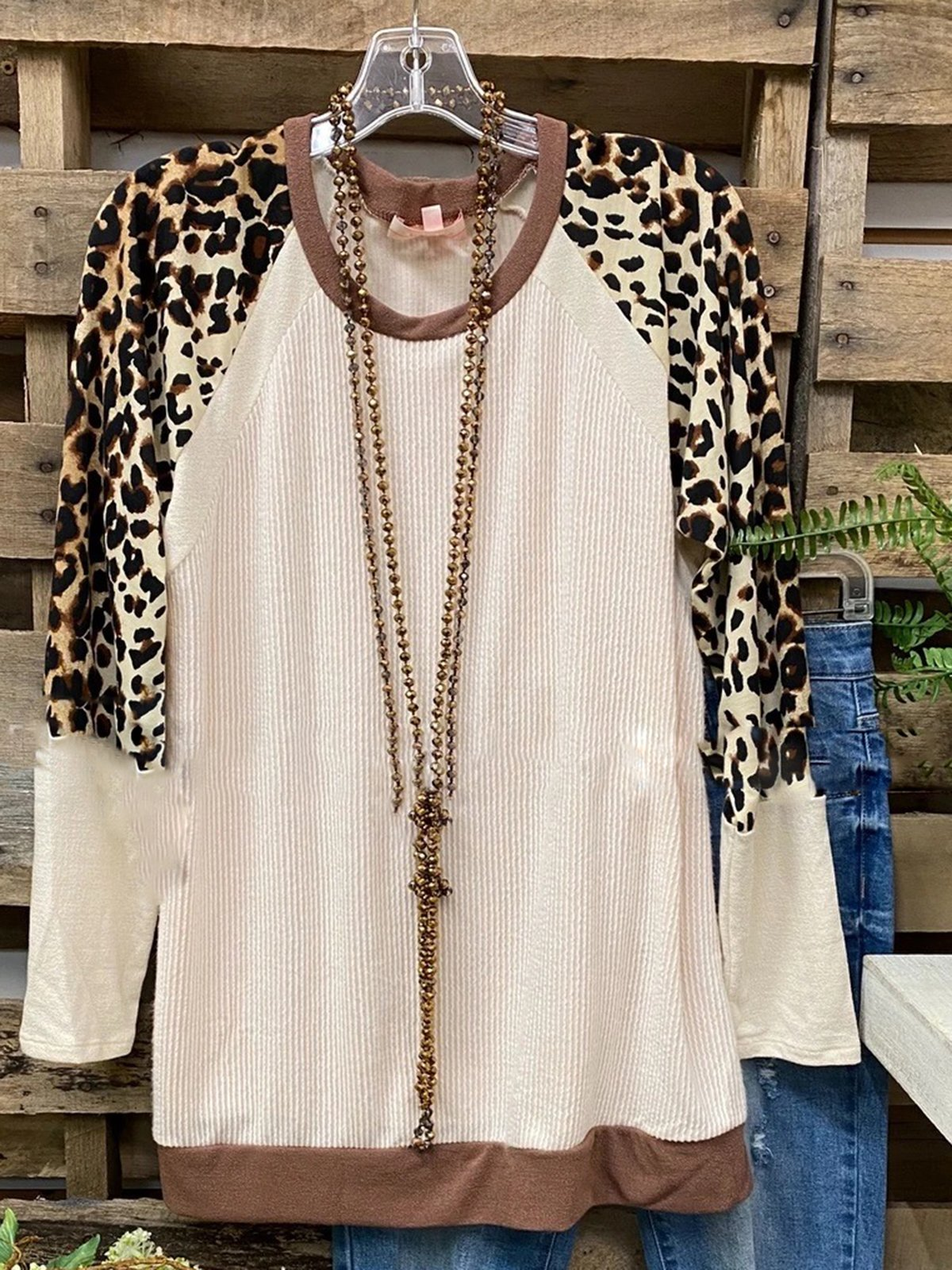 Leopard Printed Casual Long Sleeve Shift Shirts & Tops
