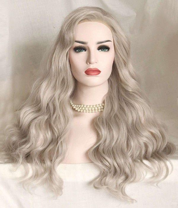 Gray Wigs Lace Frontal Wigs Girl With White Blonde HairBlonde To Grey Ombre Hair