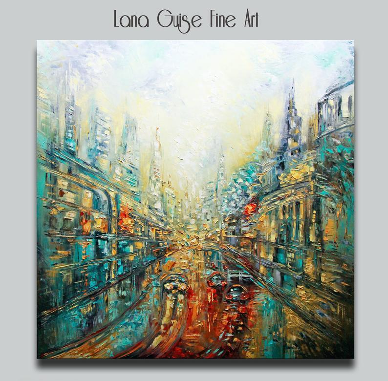 Staring at Life - Cityscape Oil Original Square Painting, Large Painting, Square Painting, Gold Leaf, Teal Turquoise Blue