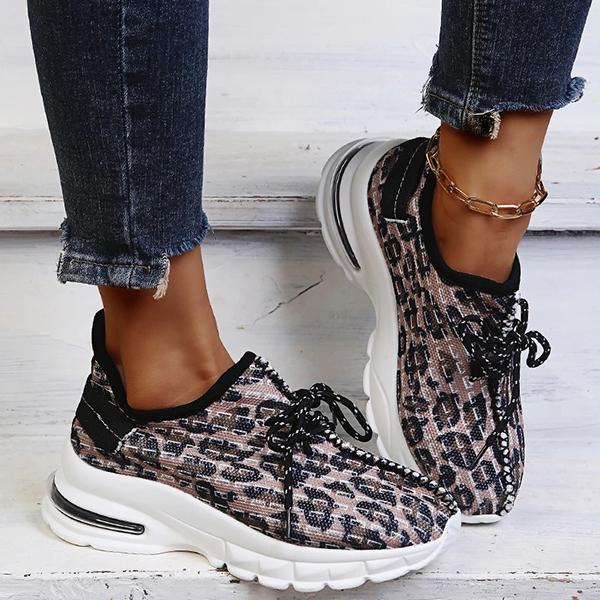 Zoeyootd Casual Fashion Synthetic Animal Print Lace-Up Sneakers