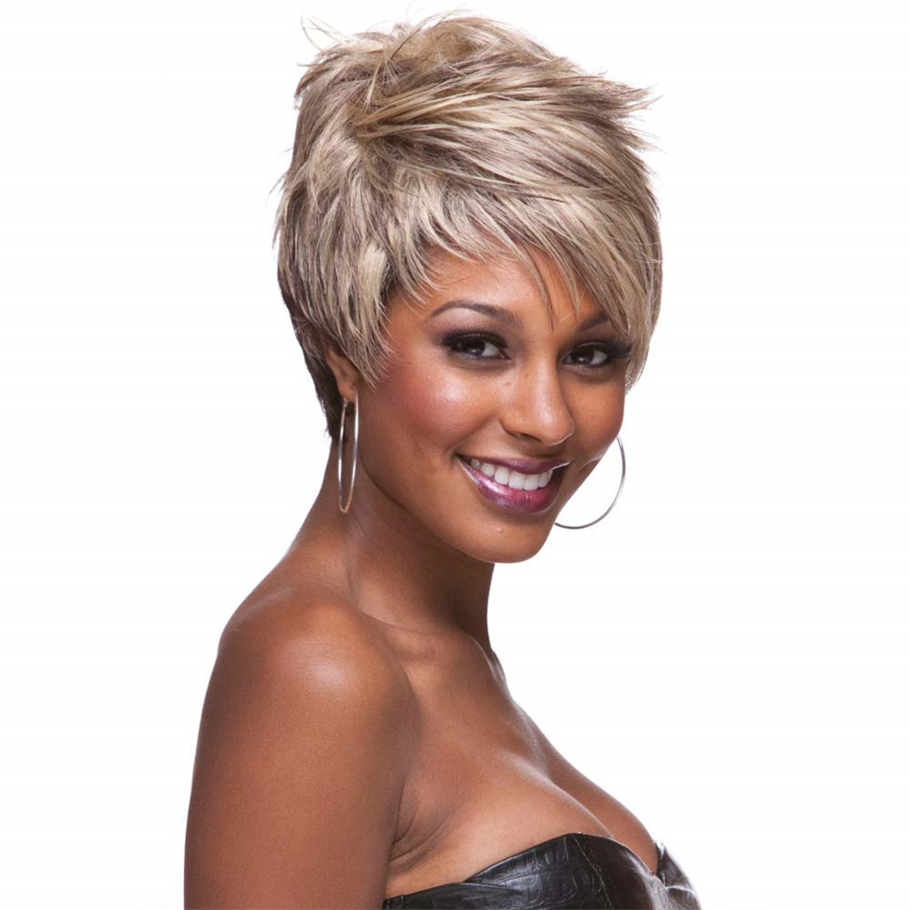 Luna Wigs Short Pixie Cut Blonde White Wig Style for African American Women