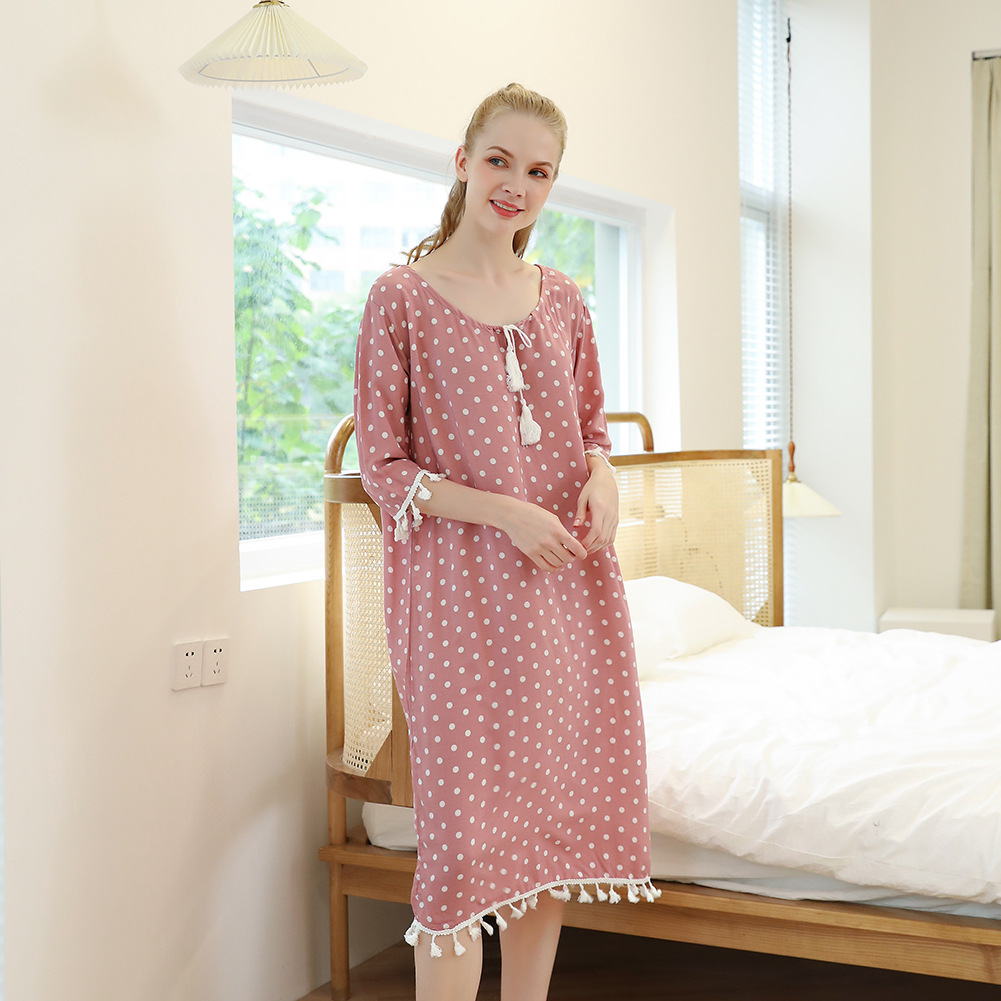 Spring and Autumn Rayon Polka Dot Yarn-dyed Fabric Ladies Casual Pajamas Sleep dress