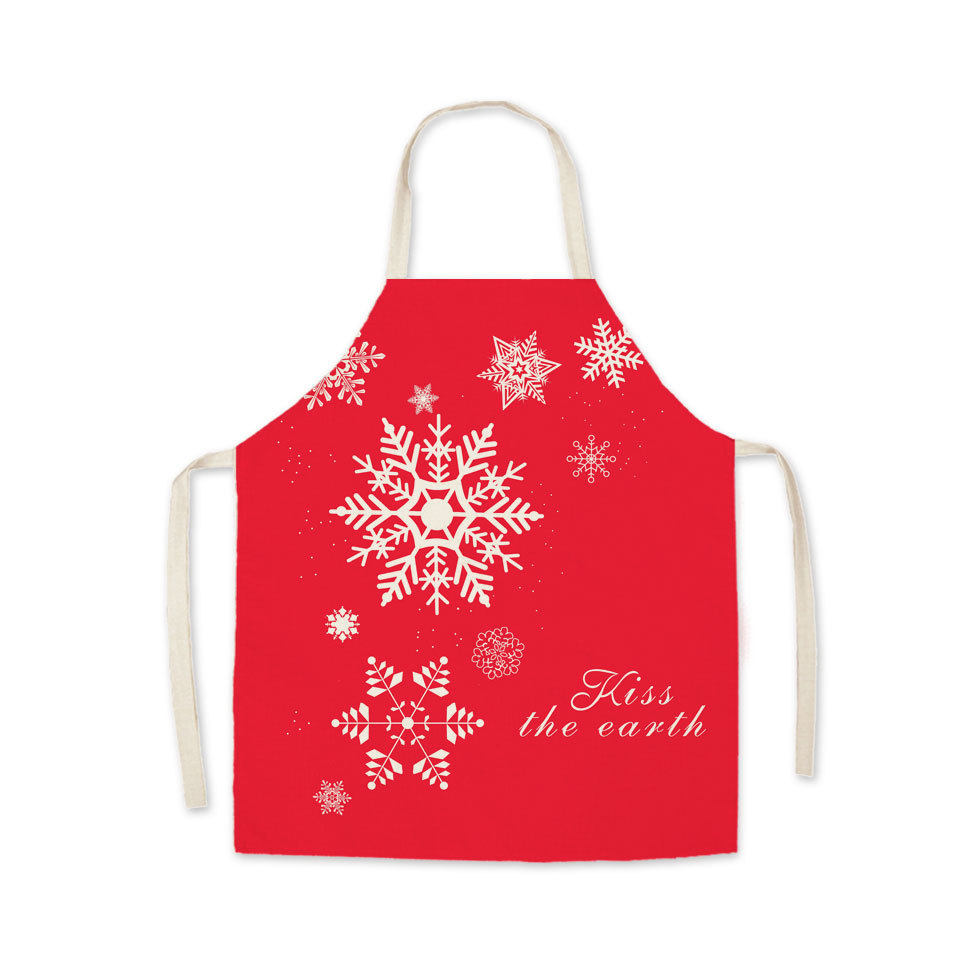 Adult & Kids - Kiss The Earth Snow Apron - Wish You A Happy Christmas