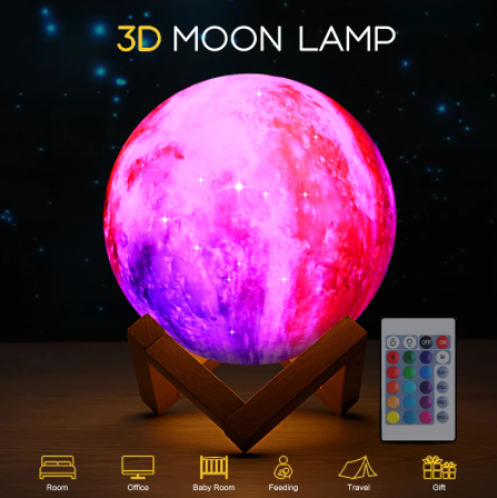 Romantic 3D Print Colorful Sky Moon Lamp Rechargeable Night Light For Moon light with 3Colors 16Colors Remote Decor Gift