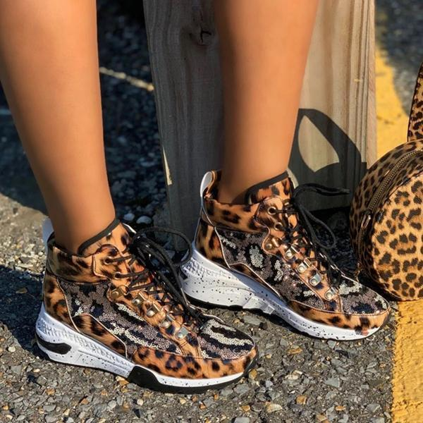 Lemmikshoes Silver Metallic Leopard Print Sequined Panels Sneakers
