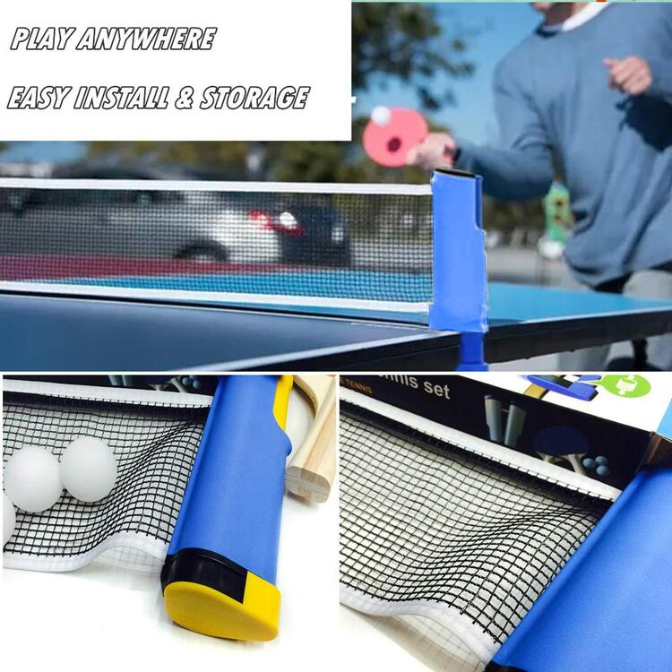 Ping Pong Paddle Set with Retractable Net
