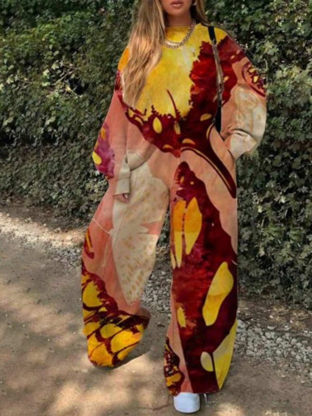 Printed Casual Two Piece Suits