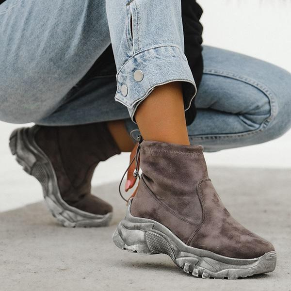 Faddishshoes Suede Pull-on Thick Sole High Sneakers