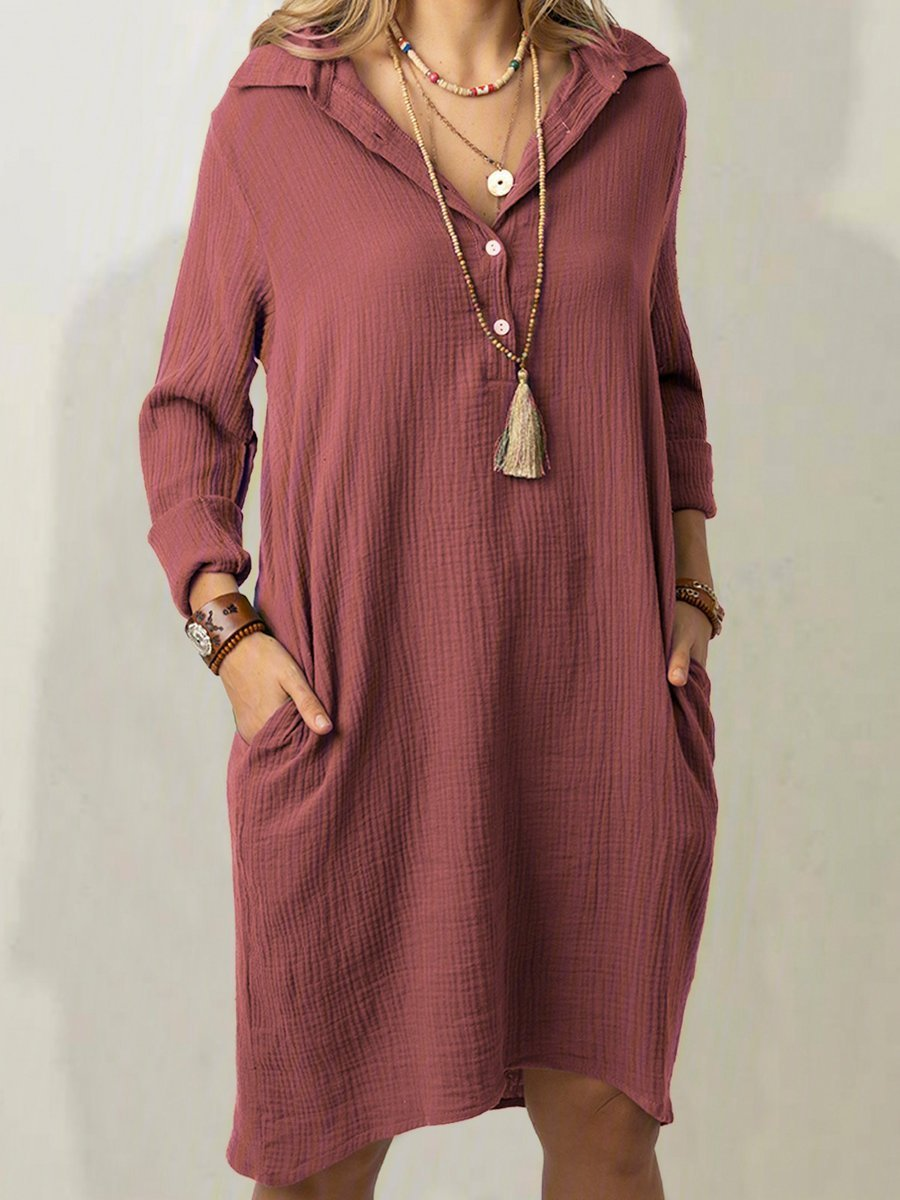 Women Plus Size Solid Casual Long Sleeve Pockets Dresses