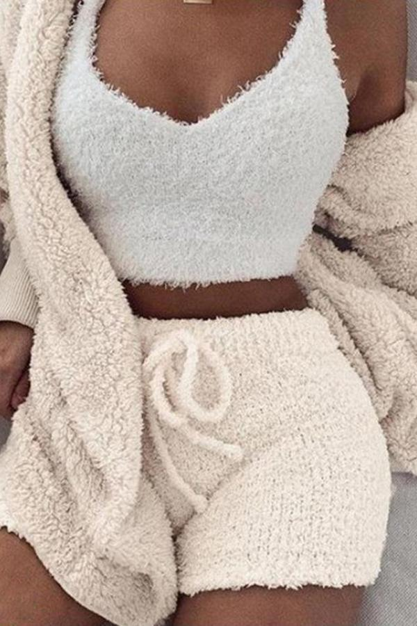 Exposed Navel Vest Shorts Three-piece Pajamas Suit