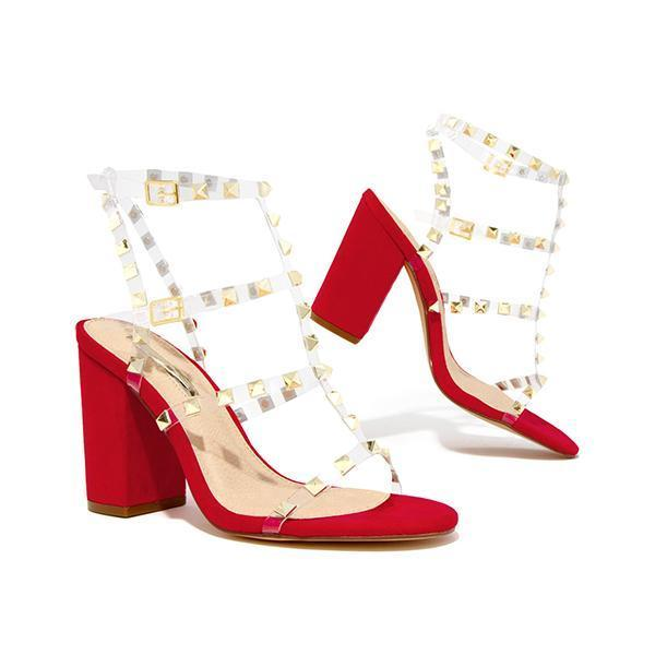 Faddishshoes Gold-Tone Studs Red Single Sole Hee Sandals