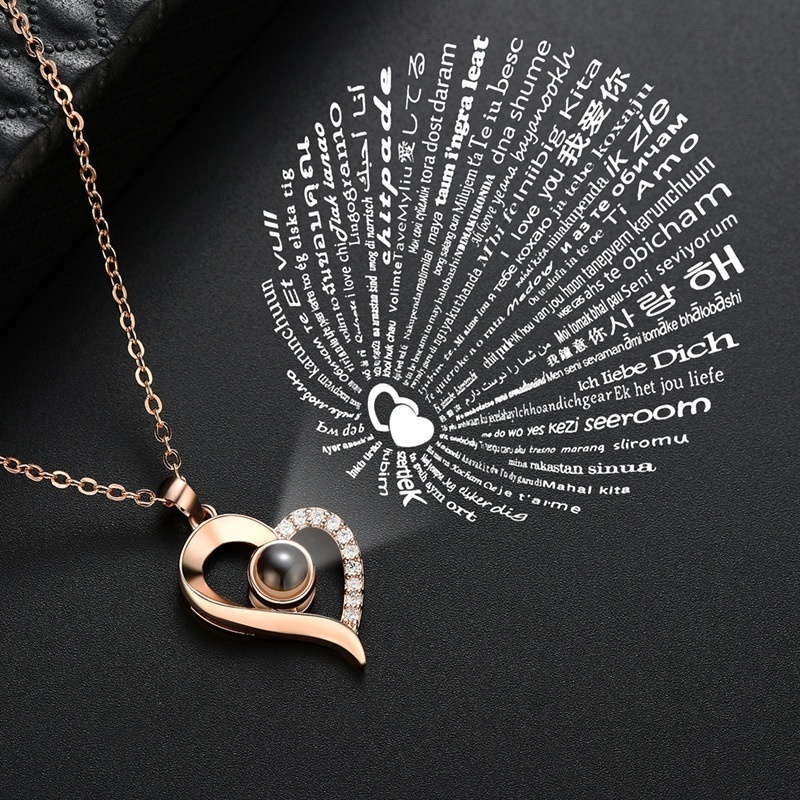 Women'S Fashion Crystal Love Memory Projection Necklace I Love You In 100 Languages Heart Pendant Necklace Romantic Jewelry Mother'S Day Christmas Valentine'S Day Gifts With Gift Box