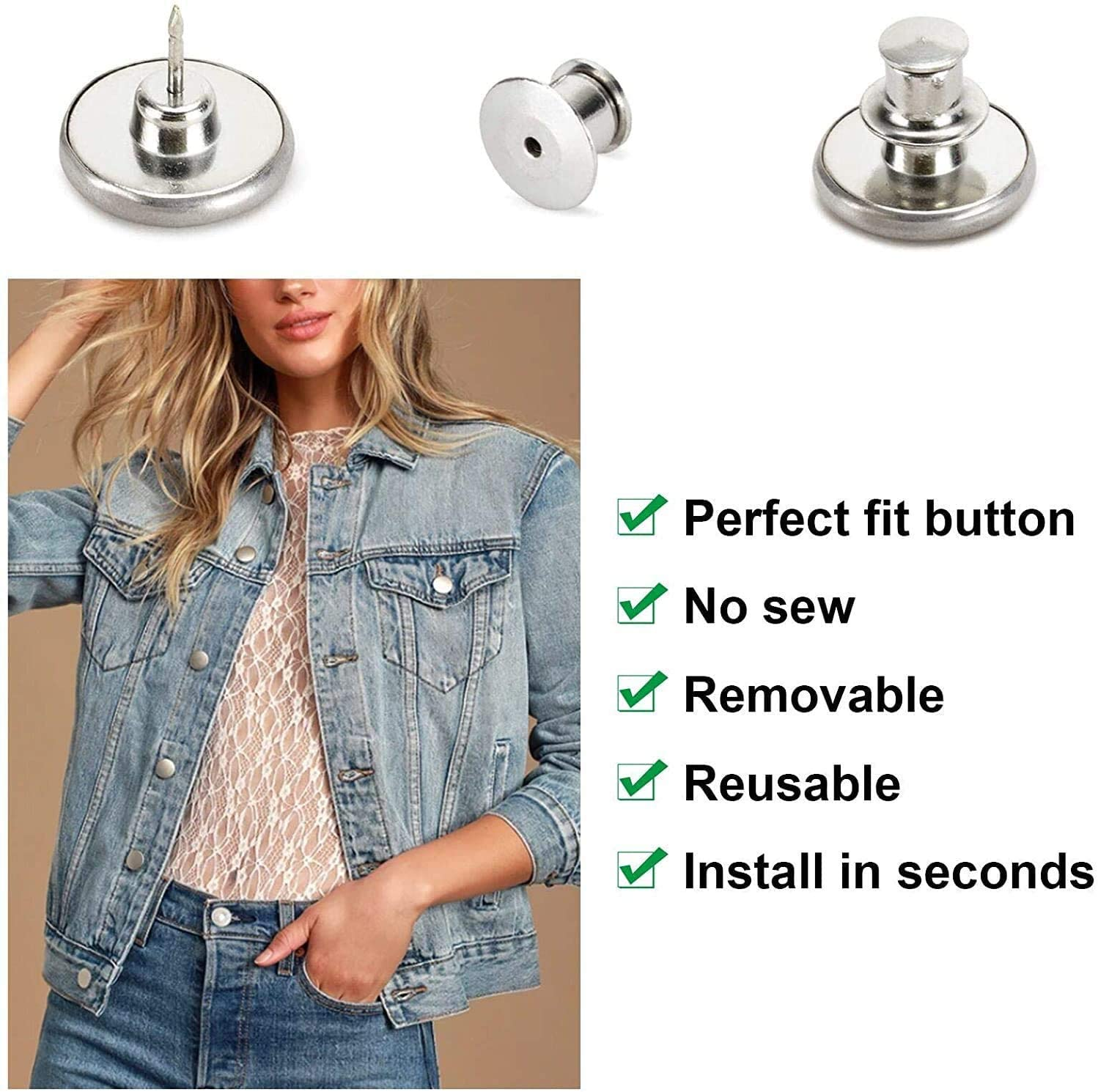 [Upgraded] Adjustable Jeans Button Pins Instant