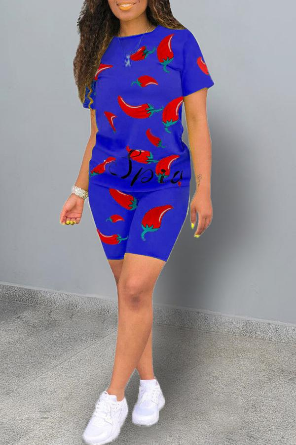 Graphic Printing Short Sleeve Two-piece Suit