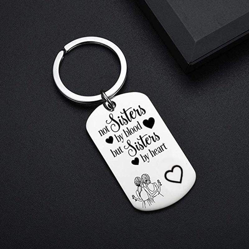Best Friend Keychains, BFF Keychains ,Not Sisters By Blood But Sisters By Heart Keychain for Sisters, Sisters Birthday Gifts