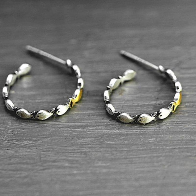 Silver Color Small Fish Earrings