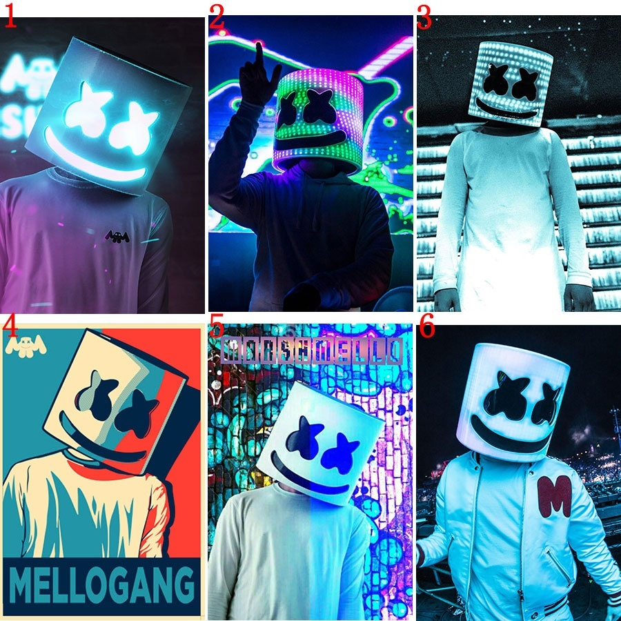 Hot DJ Marshmello Painting HD Posters Wall Stickers White Coated Paper Prints Home Decoration