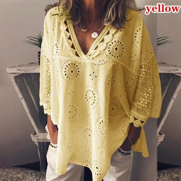 Women s Fashion Loose Lace Deep V-neck Solid Color Long Sleeved T Shirts