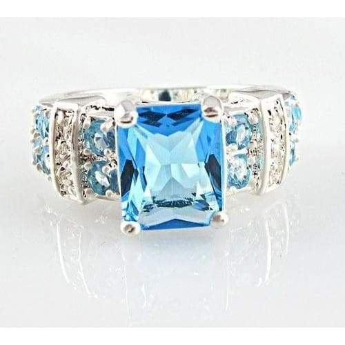 Fashion women 925 sterling  silver Blue sapphire & white topaz gemstones Ring Size 6 7 8 9 10