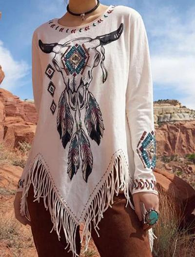 Cow Head Print Round Neck Fringed Long Sleeve T-shirt