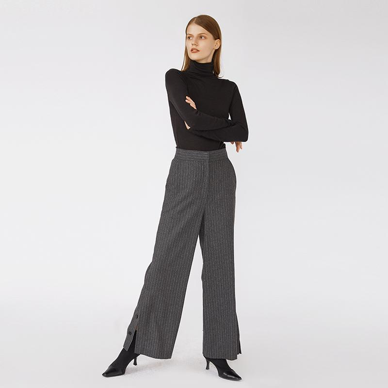 Chic vintage style vertical stripes wide leg high waist slit hem women office pants-carrot trousers 2.11