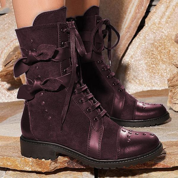 Faddishshoes Low Heel Bowknot Lace-Up Mid-Calf Boots
