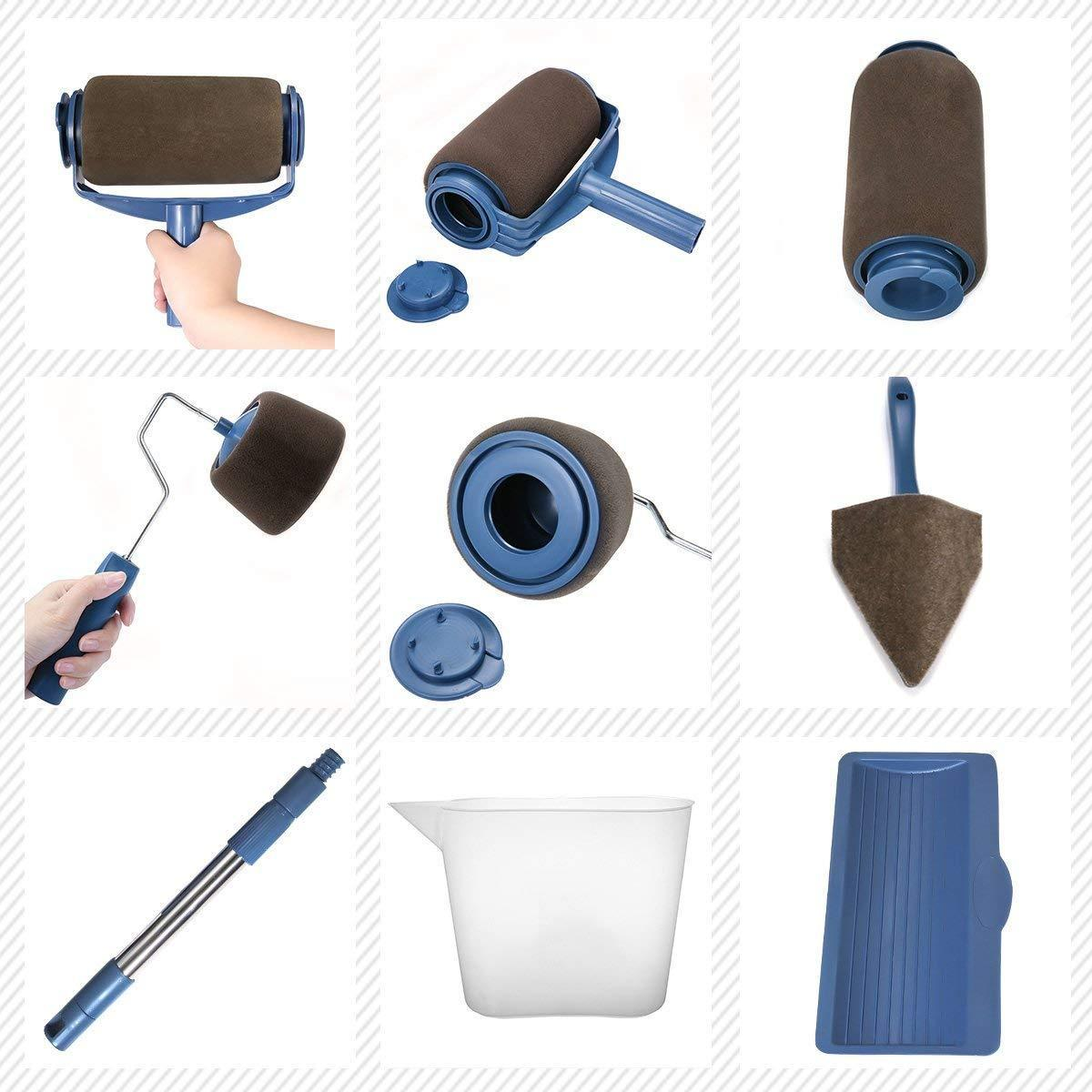 Hot selling-8Pcs/set Multifunctional Household Use Wall Decorative Paint Roller Brush Tools