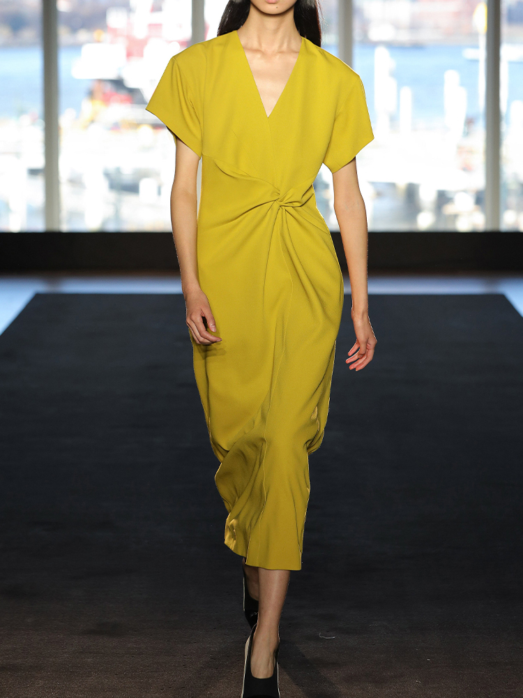 Solid Color Yellow Dress