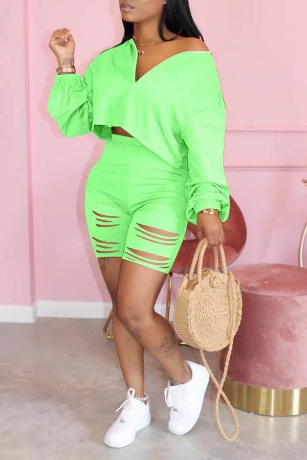 Solid Color V-neck Ripped Two-piece Set